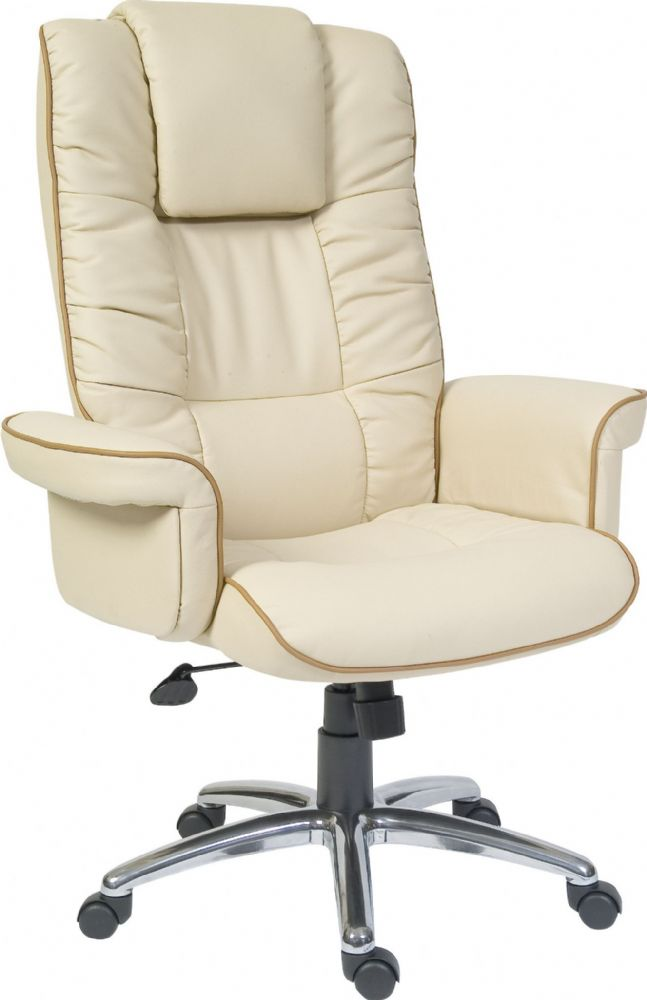 TEKNIK WINDSOR Leather Executive Chair In Cream Leather